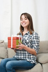 woman with xmas present