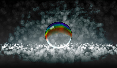 EPS10. Rainbow bubble on glass beads