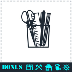 Office tools icon flat