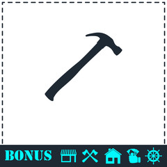 Claw hammer icon flat
