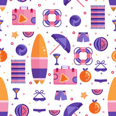 Beach summer flat seamless pattern. Surfboard, Suitcase, orange and watermelon fruit slices, starfish, lifebuoy, book, beach towel, swimsuit and coctail, umbrella. Travel kit flat lay