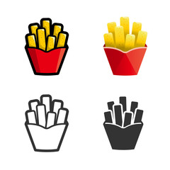 French fries vector cartoon, colored, contour and silhouette styles icon set. Tasty fast food unhealthy meal. Isolated dishes on white background.