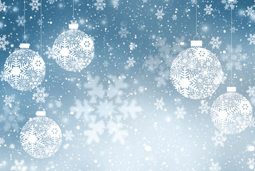 Christmas background with Christmas balls with snowflake ornament