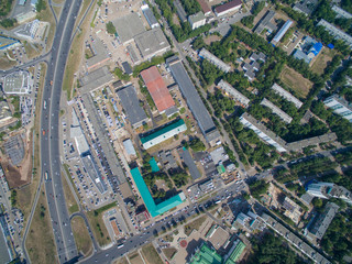 Aerial view of city Ufa from park, plant, buildings