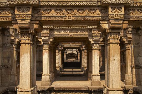 Ornately carved stonework of the Adalaj Stepwell on the outskirts of Ahmadabad, Gujarat, India. Built circa 1499.