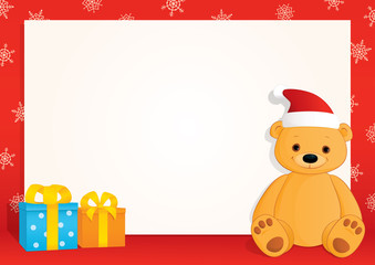 Vector Christmas blank banner with a red frame, snowflakes, gifts and a brown teddy bear wearing Santa hat. Place for text on a white background. Horizontal format A3/A4.