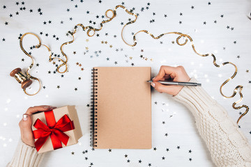 Holiday decorations and notebook