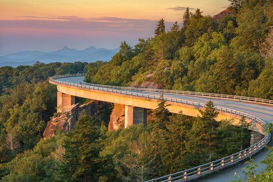 Lynn Cove Viaduct, scenic sunrise, North Carolina