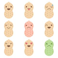 Cute minimalistic peanut emoticons isolated on white background.