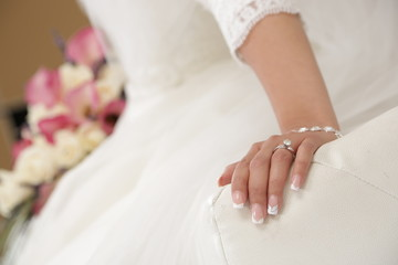 Wedding Day Bride Photography Engagement Ring  Hand Dress Manicure
