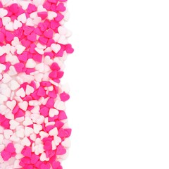Valentines Day pink and white heart candy sprinkles border over white