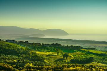 Maremma panorama. Countryside, sea and Elba. Tuscany Italy