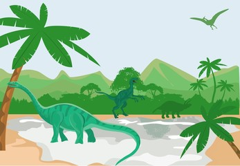 Dino world vector illustration.