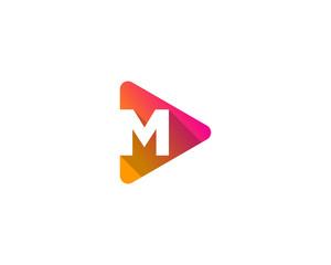 Letter M Play Media Logo Design Element