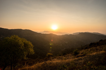 Sunset in the mountains of Troodos