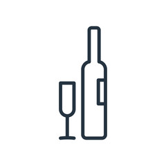 wine bottle and wine glass line web icon on white background