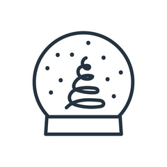 christmas snow globe line web icon on white background