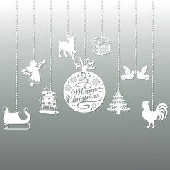 A set of Christmas toys of different shapes. Beautiful design. It can be used as decoration elements