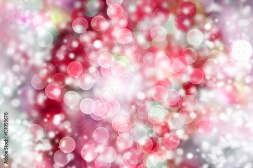 red abstract bokeh with snow christmas and new year theme background