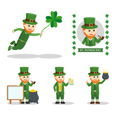 leprechaun people set illustration design