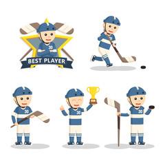 hockey player set illustration design