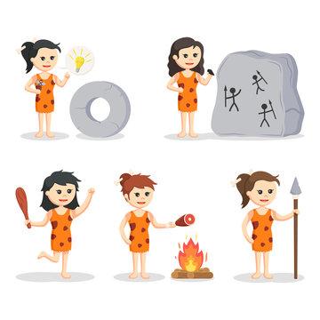 cavewoman character set illustration design