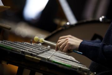 Hands musician playing the glockenspiel