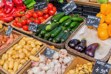 stall display of a farmers market in the Provence