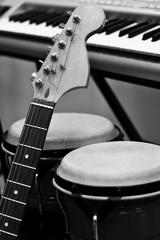 Fingerboard guitar closeup in black and white