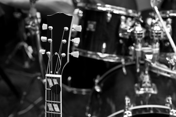 Grif guitar closeup in black and white