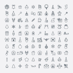 Christmas and New Year line web 100 icons set on white backgroun