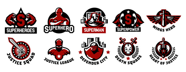 Set of superhero logos. A collection of images of superman. The suit, raincoat, silhouette, image, face, muscles, city, wings, sword, skull, monster, heart. Vector illustration. Flat style
