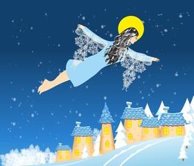 Anioł zimy i bożego narodzenia