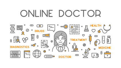 Vector line web concept online doctor