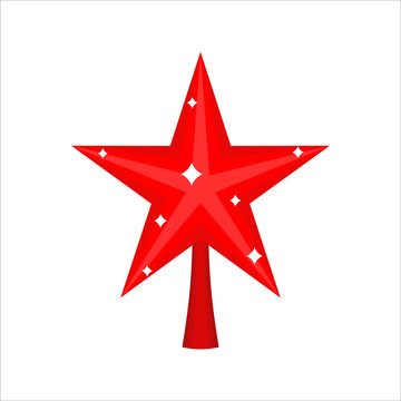 Christmas red Star for tree. decoration for fir-tree isolated. N
