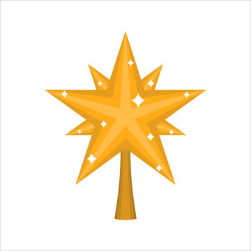 Christmas gold Star for tree. decoration for fir-tree isolated.