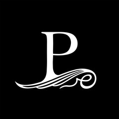 Capital Letter P for Monograms, Emblems and Logos. Beautiful Filigree Font. Is at Conceptual wing or waves.