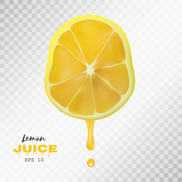 Vector realistic sliced lemon with drop of juice. Transparent background