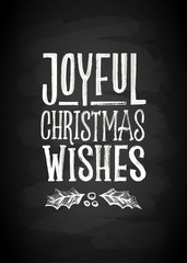 Merry Christmas and New Year Chalk Board Lettering. Letters stylized for the drawing with chalk on the blackboard. Vector illustration