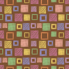 Seamless vector  geometrical pattern with squares.  Brown endless background with  hand drawn textured geometric figures. Graphic  illustration Template for wrapping, web backgrounds, wallpaper