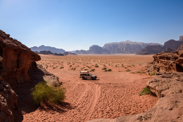 Pick up on a desert path, in wadi Rum, Jordan