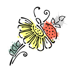 Vector floral illustration with insect Ladybug with flowers, leaves, decorative elements isolated on the white background Hand drawn contour lines and strokes Doodle style, graphic vector illustration