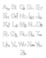Alphabet baby animals ABC children coloring page