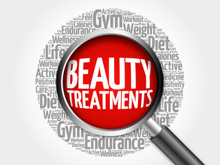 Beauty Treatments word cloud with magnifying glass, health concept 3D illustration