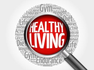 Healthy Living word cloud with magnifying glass, health concept 3D illustration