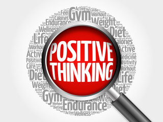 Positive thinking word cloud with magnifying glass, health concept 3D illustration