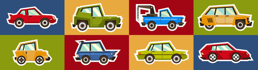 Set of toy cars isolated white outline on a colored background. Stickers machines. Vector illustration. Flat style