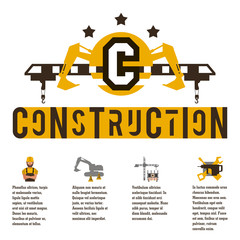 Vector illustration on the theme of a construction site. Icons and template for text. Logo special equipment, hydraulic arm. Excavator, crane. Banner with the production of information.