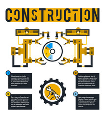 Vector illustration infographic on the construction site. Diagram surrounded by robotic arms. Lettering on the isolated background. Logo hand holding a wrench. Flat style