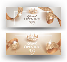 Elegant Grand opening invitation cards with textured curly beige ribbons and gold crowns